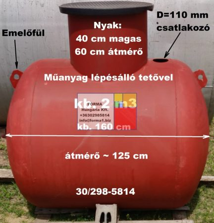 2 m3-es fekvő hengeres vastartály - könnyített kivitel - azonosító: VK-100/1