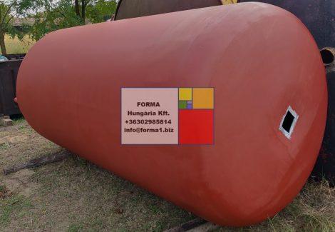 10 m3-es álló ( fekvő ) hengeres alumínium tartály;
