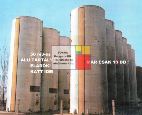 50 m3 alumínium tartály, Locsolóvíz - öntözővíz tároló - B1/R1;