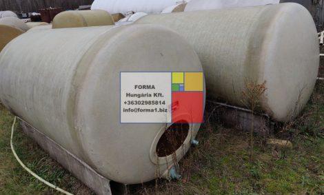 4 m3 - es poliészter - üvegszálas fekvő hengeres műanyag tartály