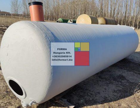 9 m3-es fekvő hengeres  poliészter - üvegszálas műanyag tároló tartály - R1;