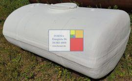 2 m3-es fekvő lencse poliészter - üvegszál erősítésű műanyag szállító tartály vázzal - töb db - azonosító: IH-301