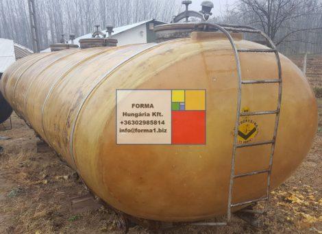 12 m3 fekvő lencse/tojás keresztmetszetű poliészter - üvegszál erősítésű műanyag szállító tartály vázzal - több db - R2;