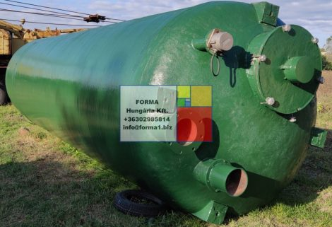 18,5 m3-es álló hengeres, poliészter - üvegszálas műanyag tartály - SILÓ- több db.
