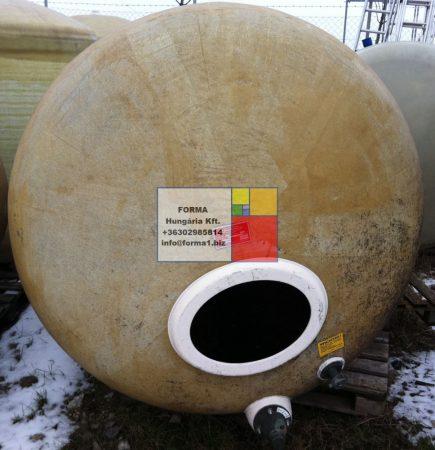 3  m3-es poliészter - üvegszálas műanyag tartály - fekvő hengeres - R1;