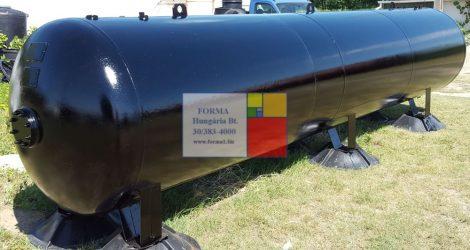 7,5  m3-es használt, felújított fekvő hengeres tartály -;