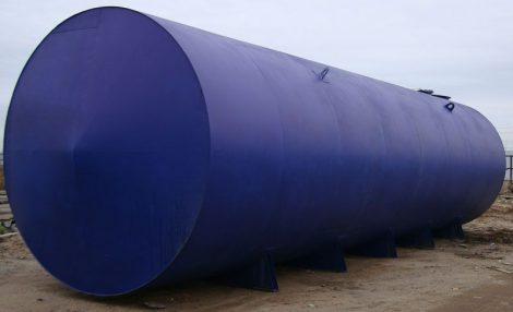 150 m3-es használt, felújított fekvő hengeres vas / acél tartály - B1;