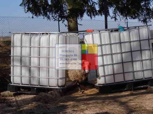 1 m3-es , 1050 literes HD-PE IBC  műanyag ballon /  hordó / tartály / tároló - fekete - több db